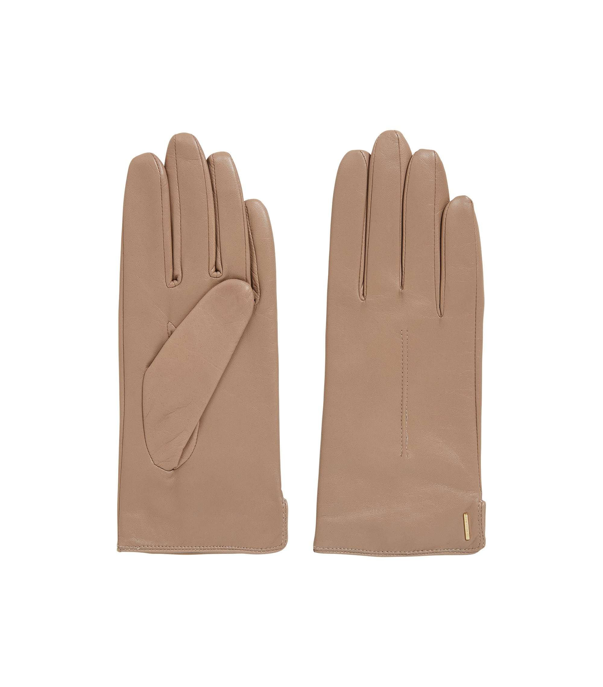 Lambskin leather gloves with wool-blend lining, Open Beige