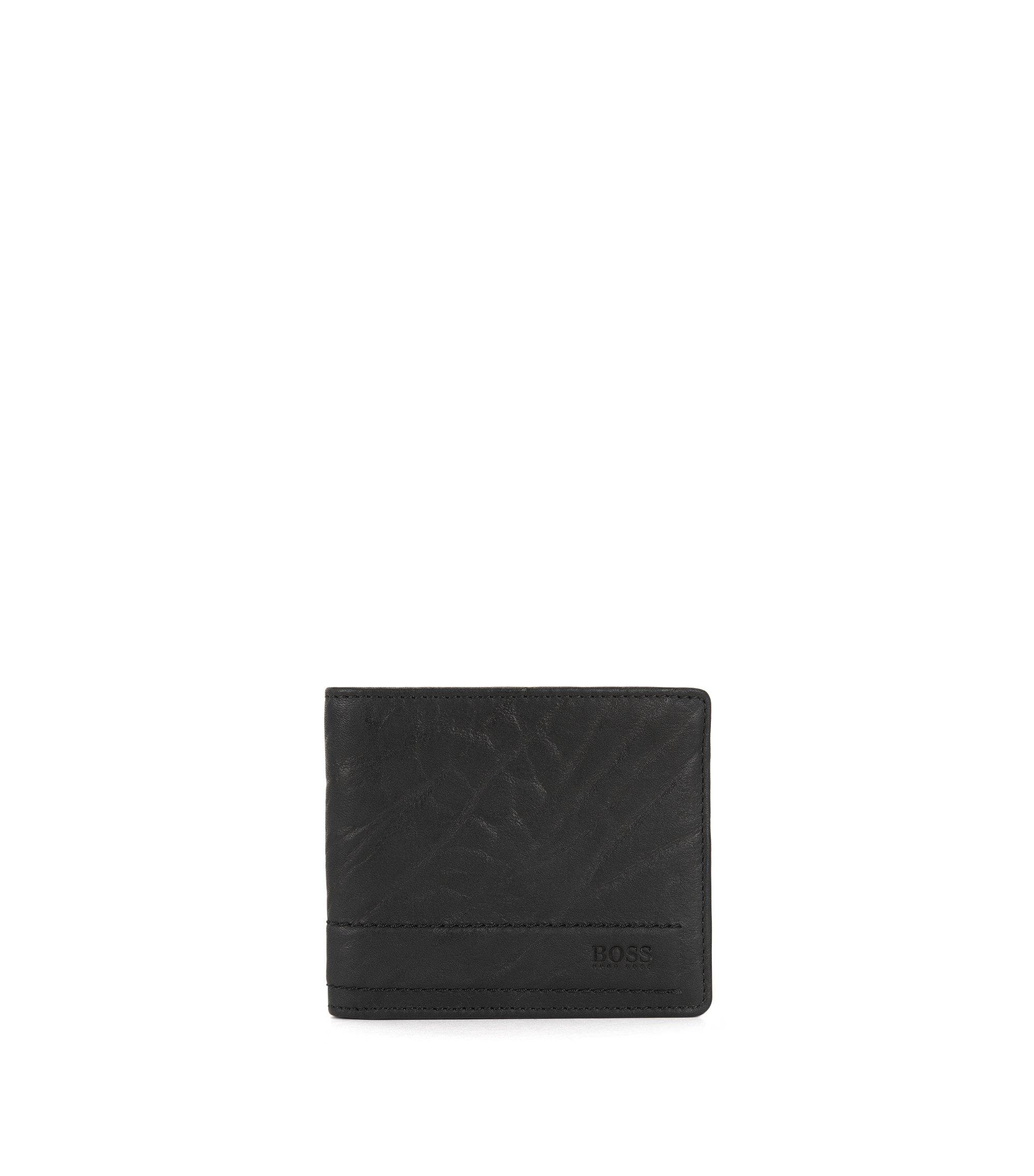 Klapp-Geldbörse aus genarbtem Leder, Schwarz