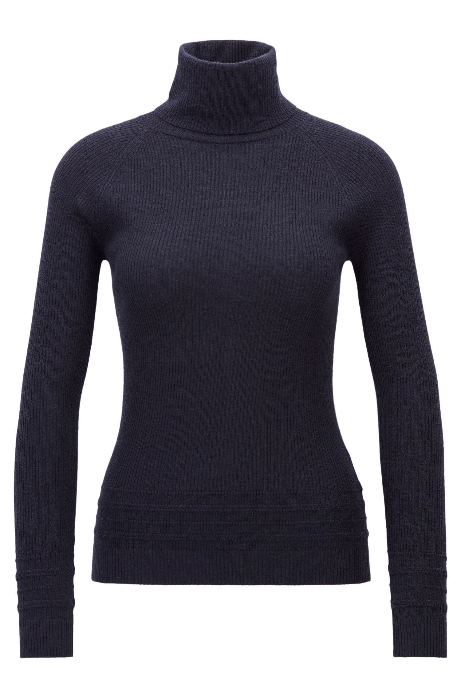 Roll-neck jumper in ribbed knit