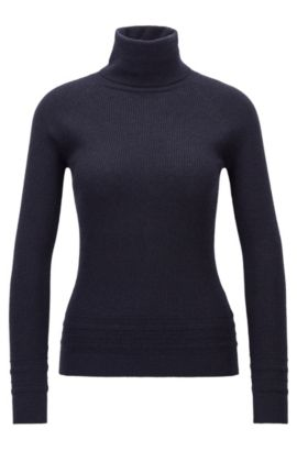 Roll-neck jumper in ribbed knit, Dark Blue