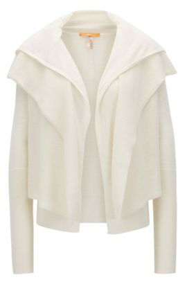 Double-fronted cardigan in structured fabric, Natural