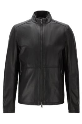 Slim-fit jacket in soft leather, Black