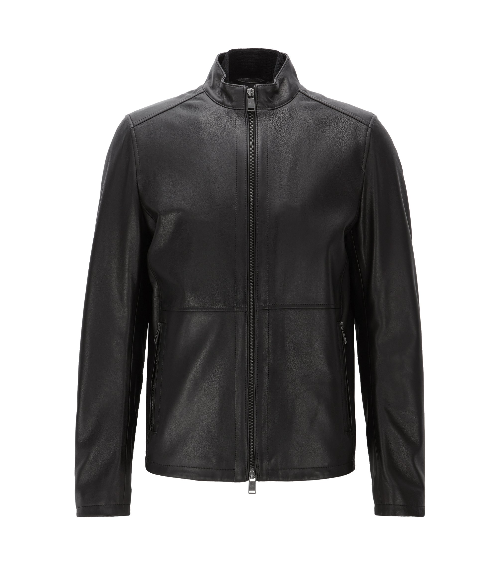 Slim-fit jacket in soft leather, Black