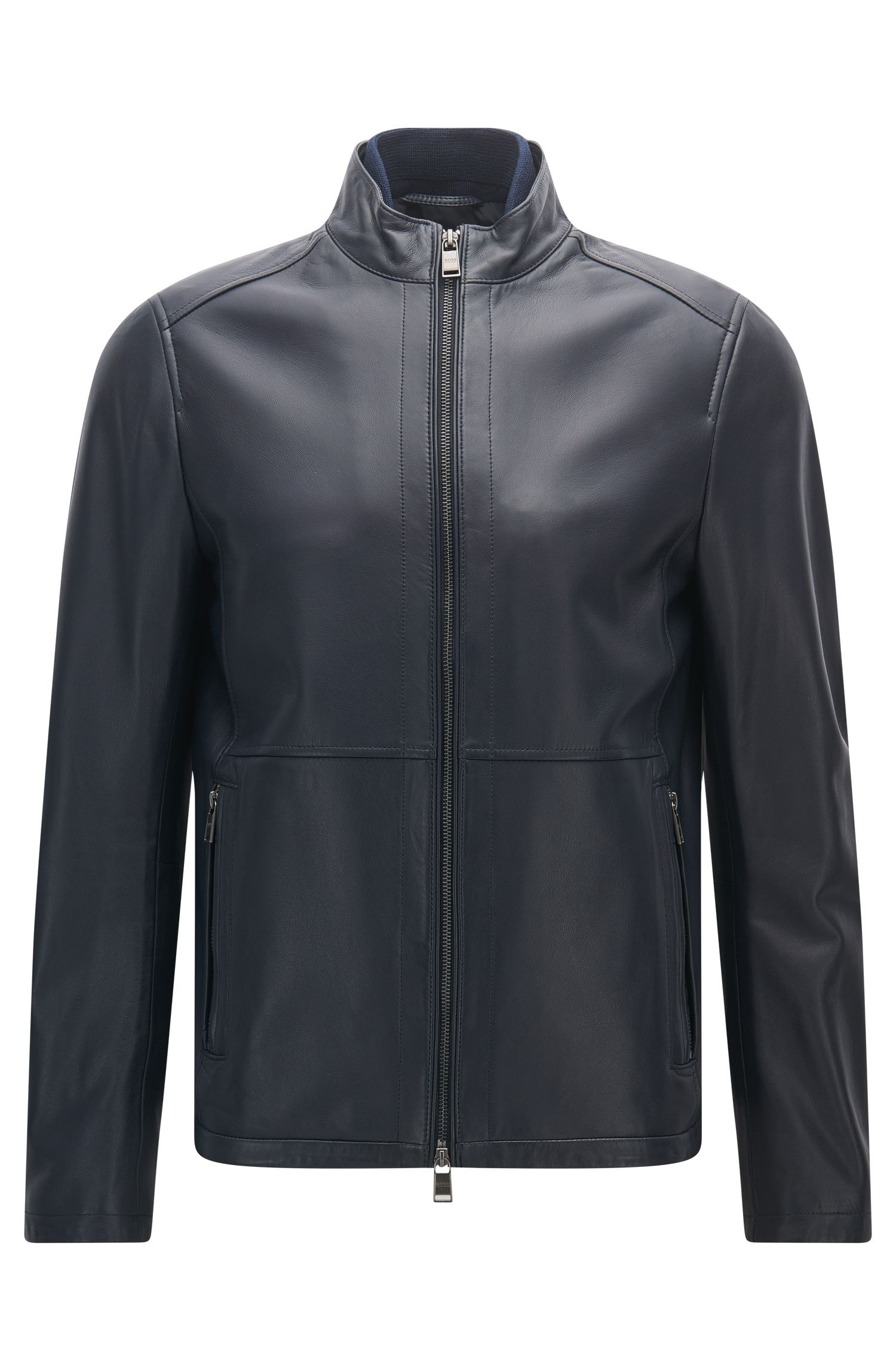 Slim-fit jacket in soft leather