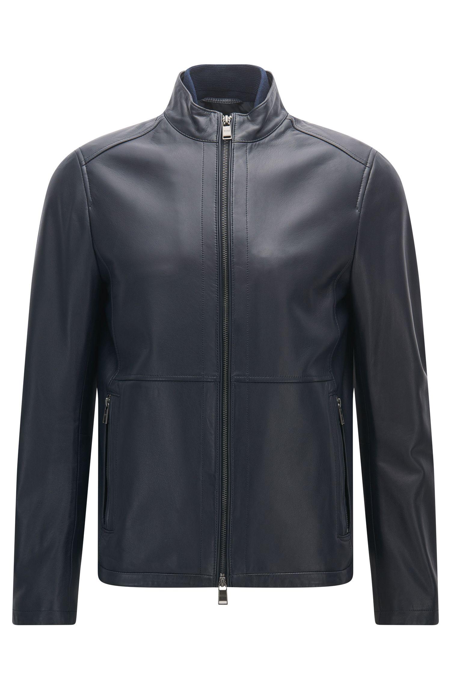 Slim-Fit-Jacke aus weichem Leder