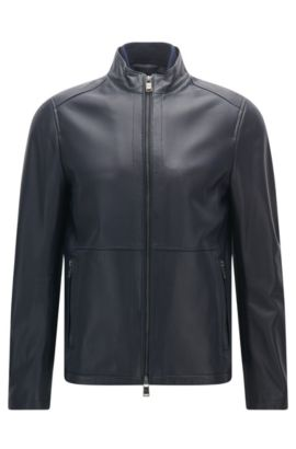 Slim-fit jacket in soft leather, Dark Blue
