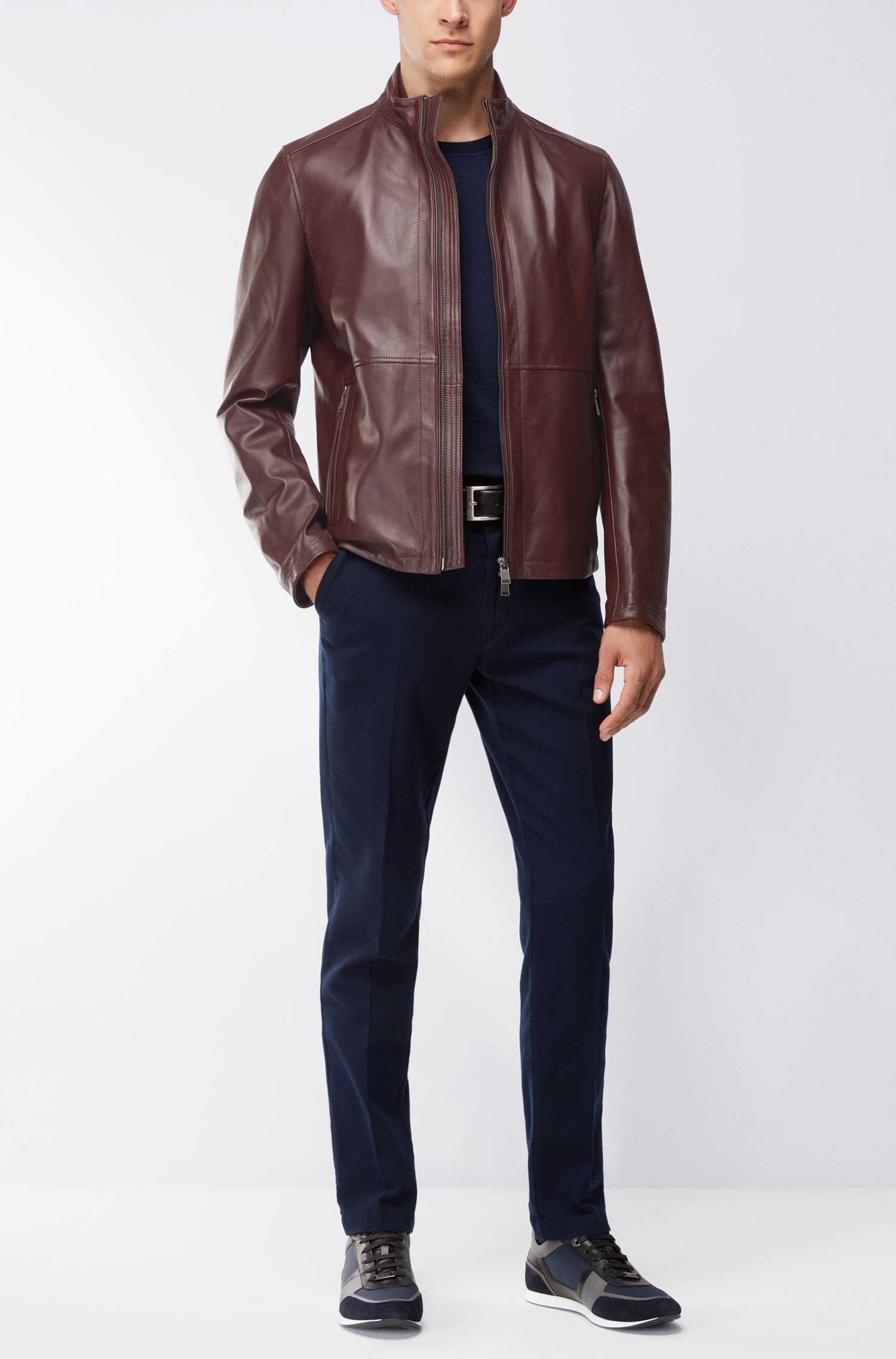 Slim-Fit Jacke aus weichem Leder