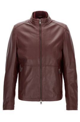Slim-fit jacket in soft leather, Dark Red