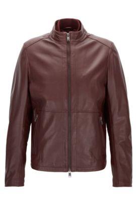 Slim-Fit-Jacke aus weichem Leder, Dunkelrot