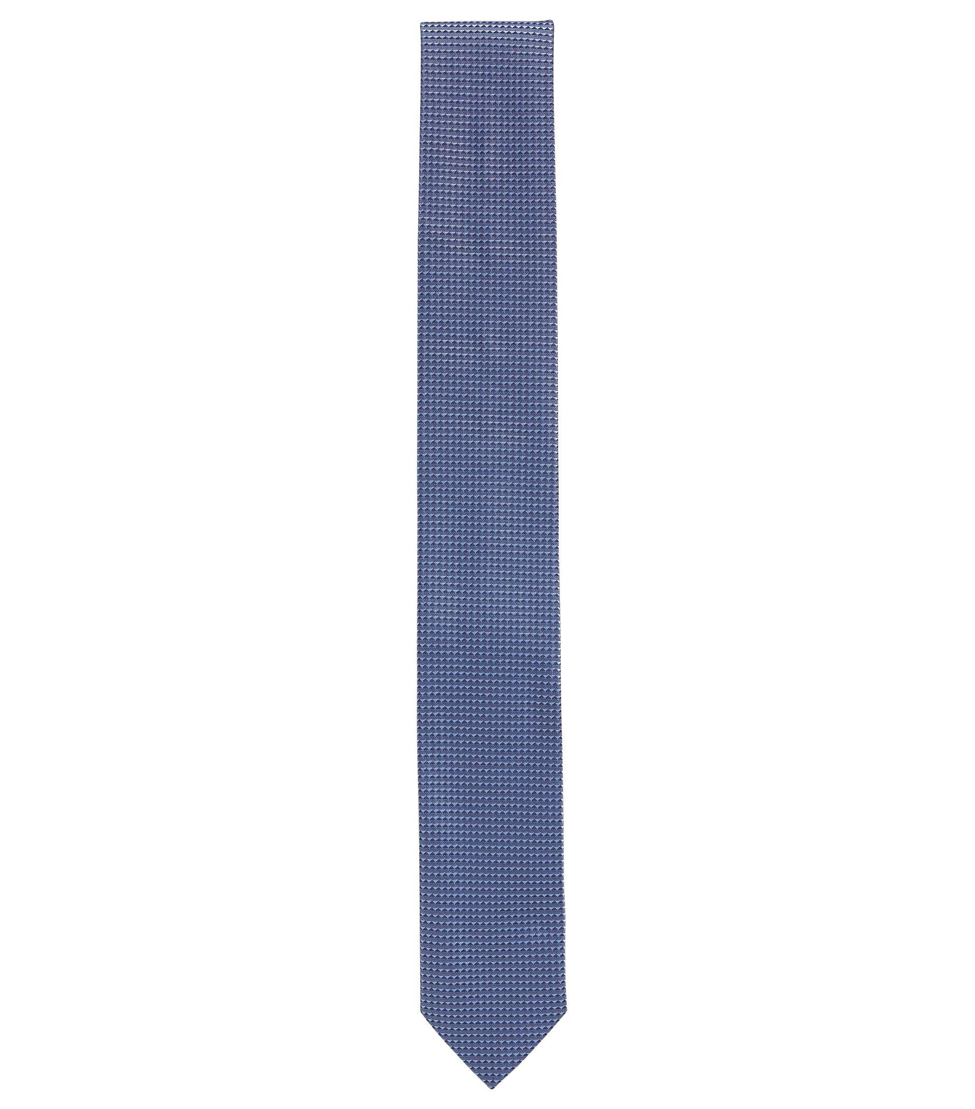 Cravate jacquard à micro-motif en pure soie, Bleu vif