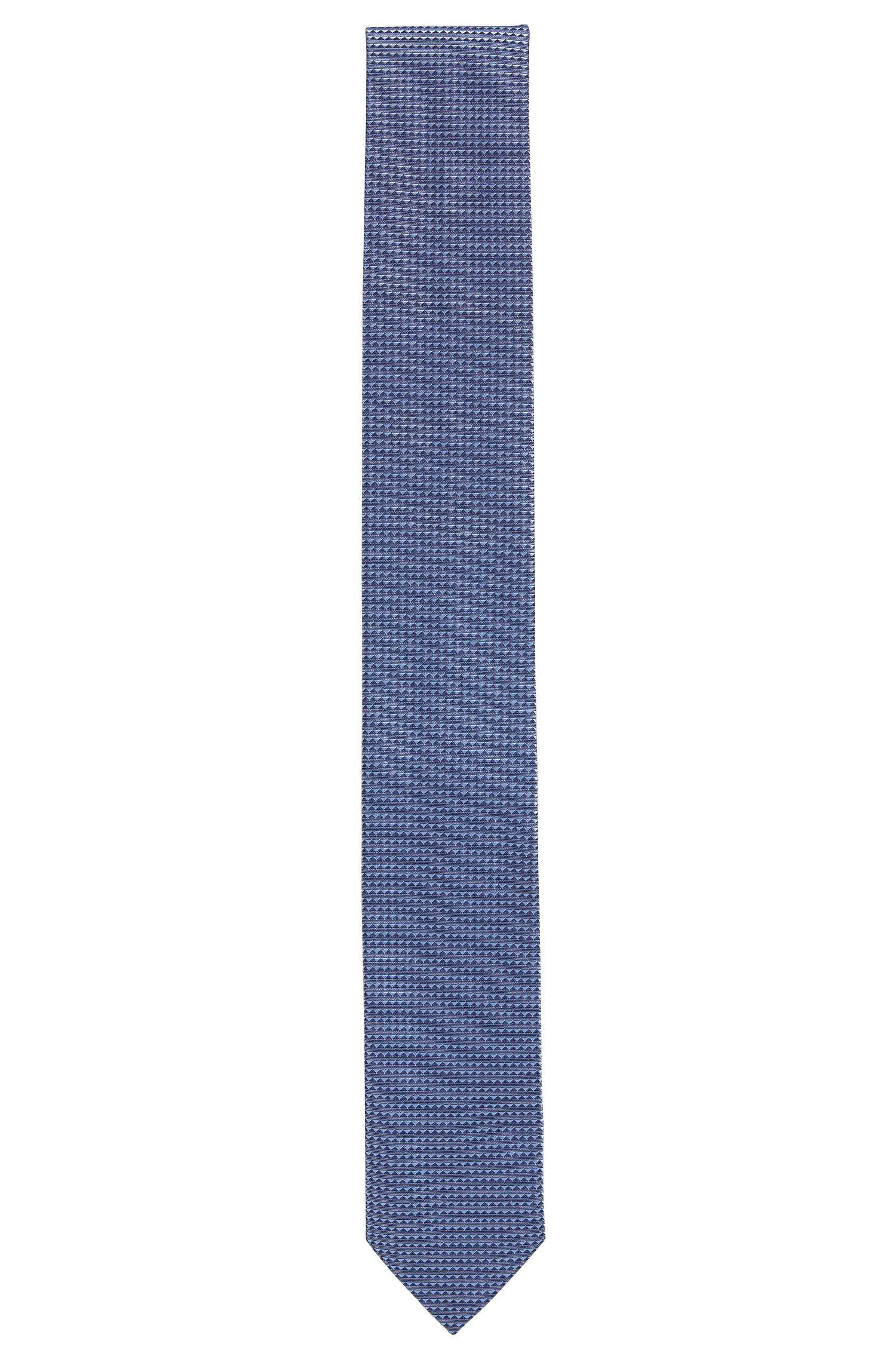 Cravatta in pura seta jacquard con microdisegni