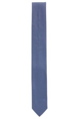 Micro-pattern jacquard tie in pure silk, Light Blue