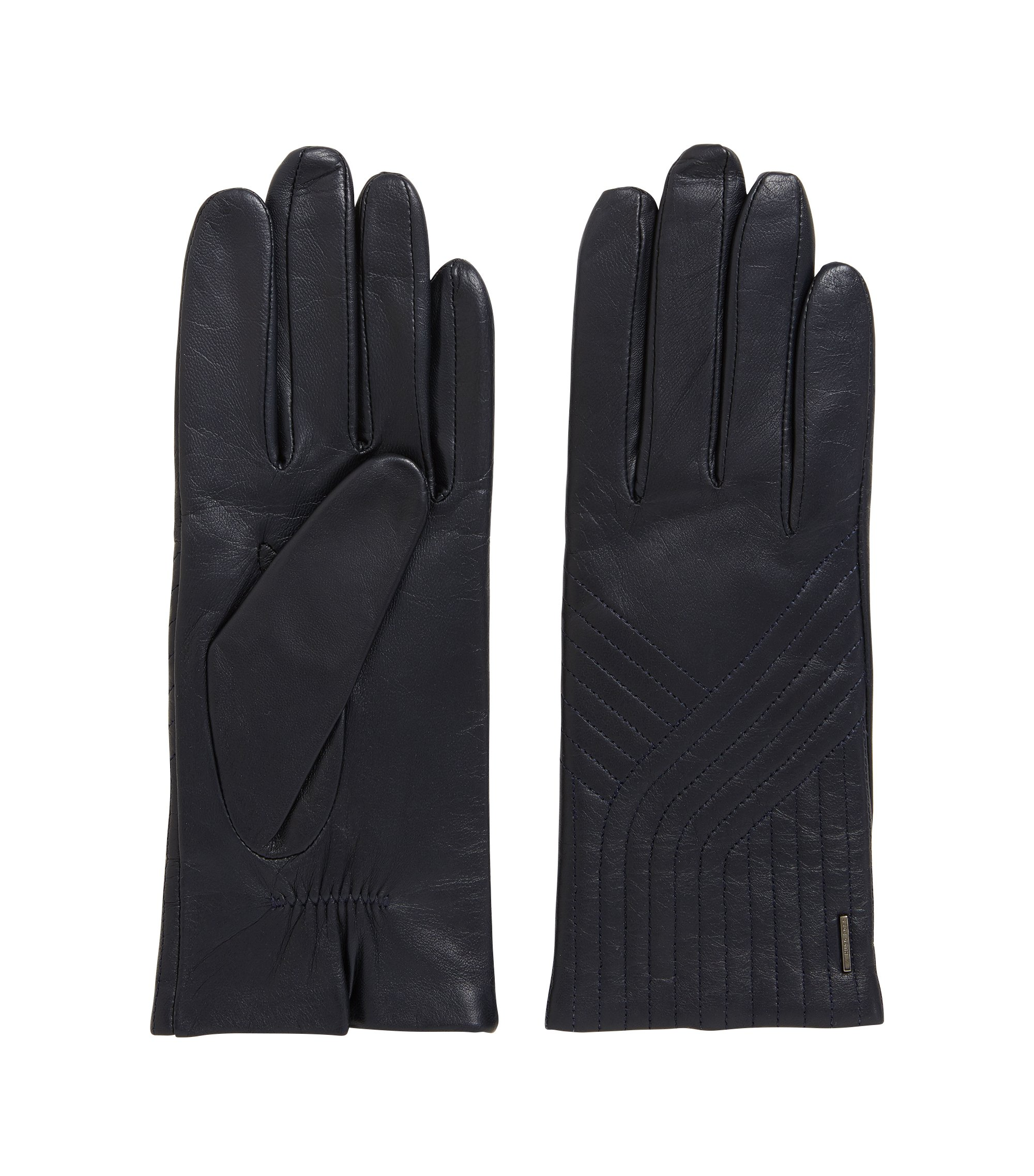 Lambskin leather gloves with geometric stitching, Dark Blue