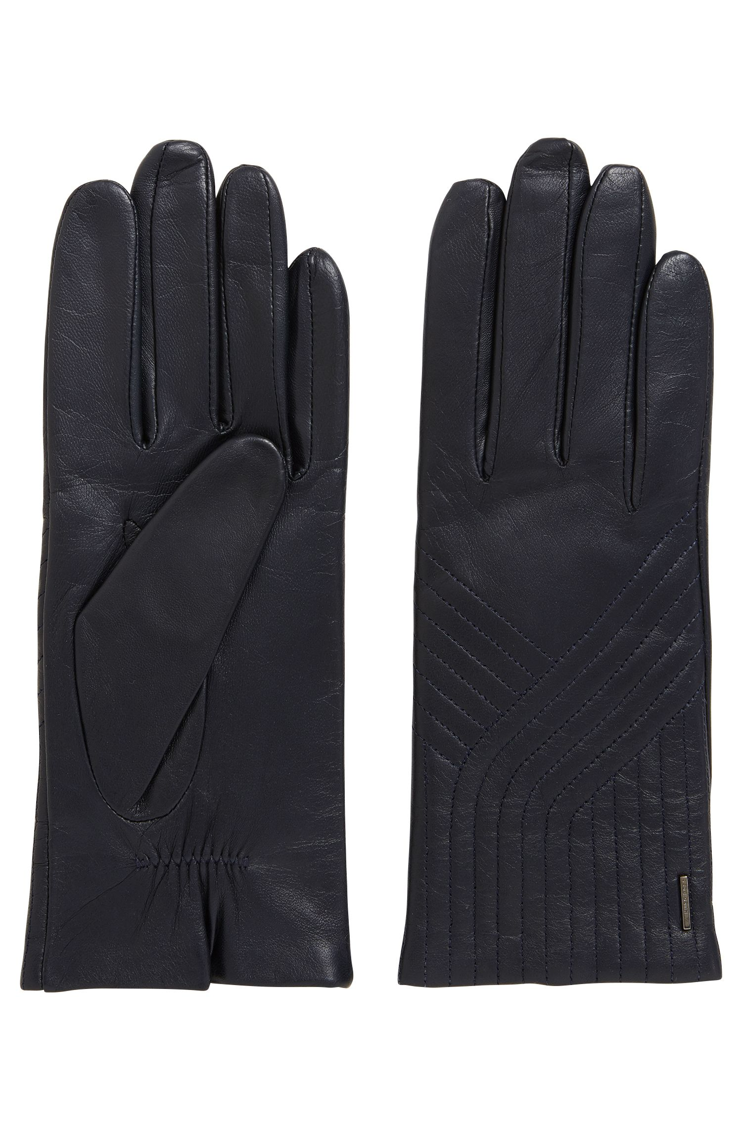 Lambskin leather gloves with geometric stitching