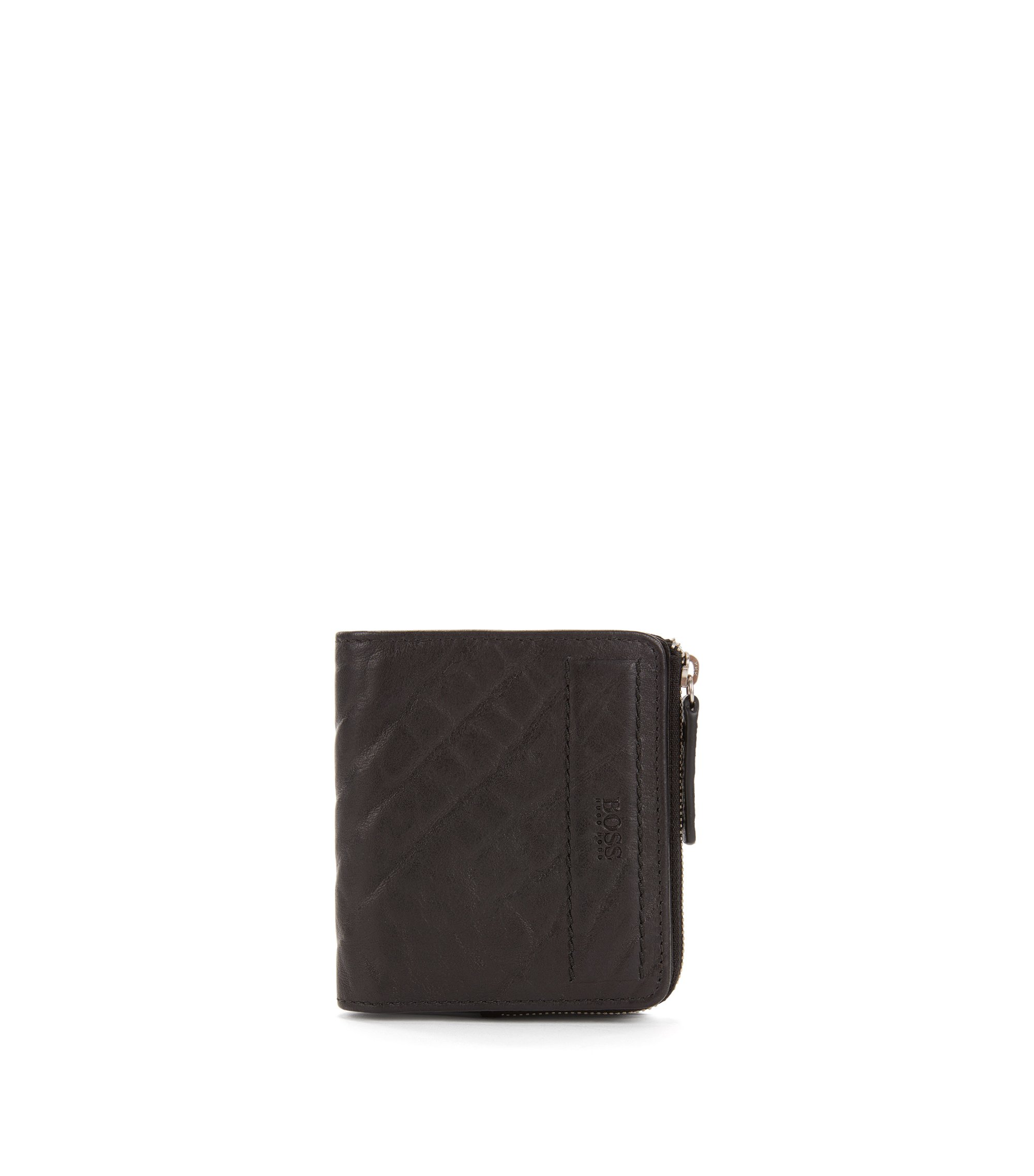 Small zip-around wallet in grained leather, Black