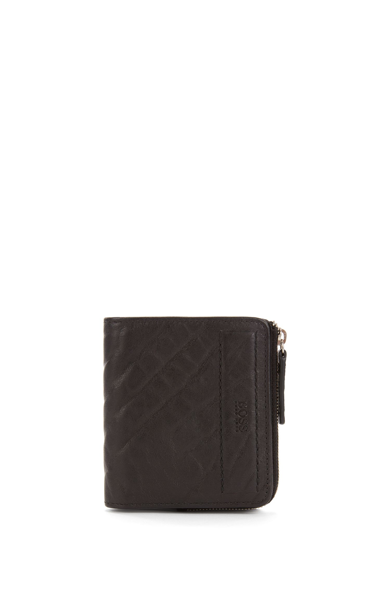 Small zip-around wallet in grained leather
