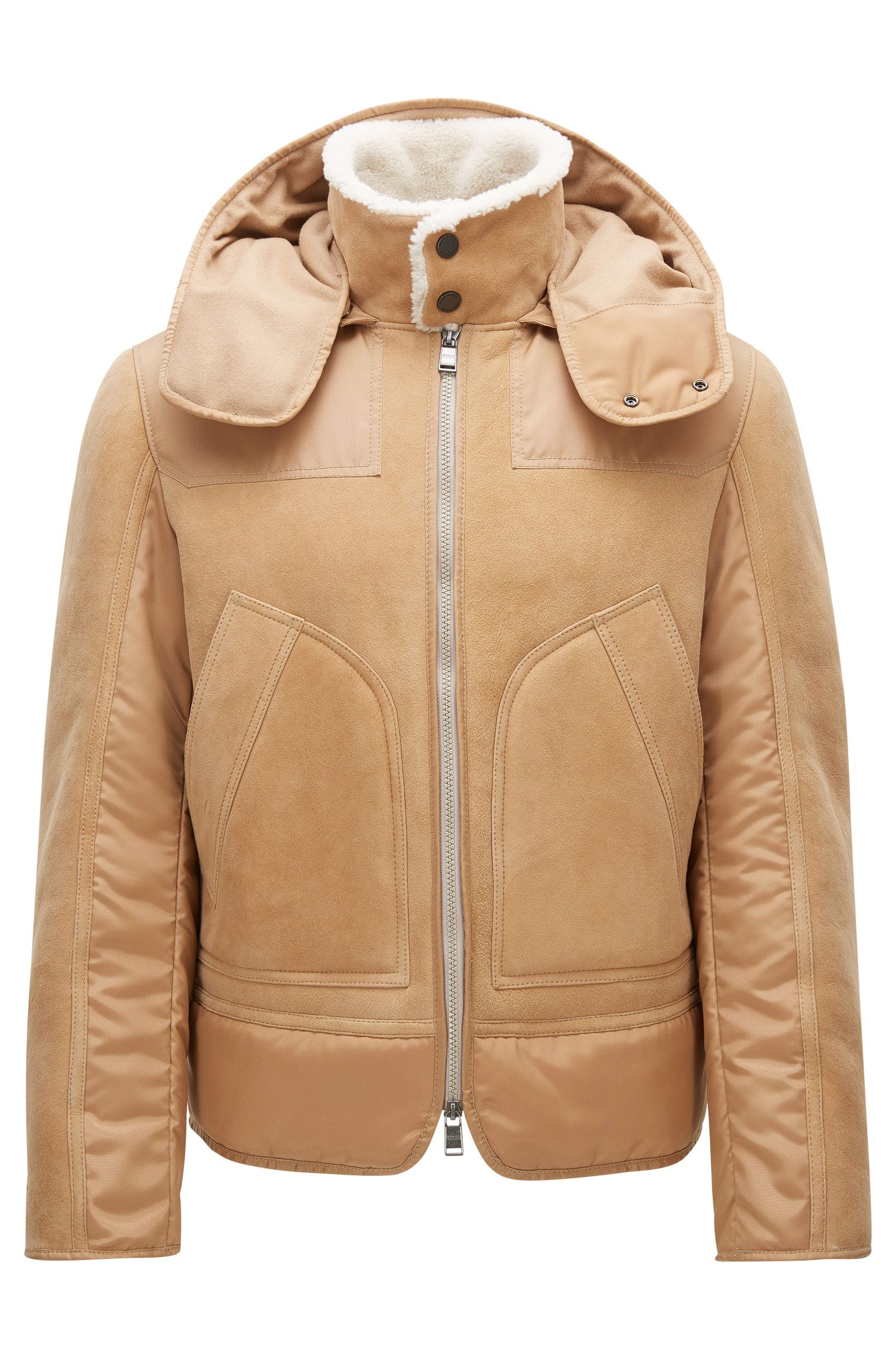 Regular-Fit Lederjacke aus Leder mit abnehmbarer Kapuze