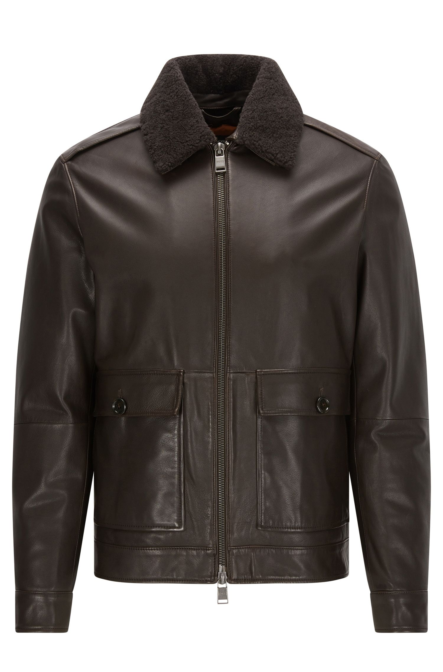 Blouson aviateur Regular Fit en cuir