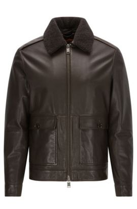 Regular-Fit Lederjacke im Aviator-Stil, Dunkelbraun