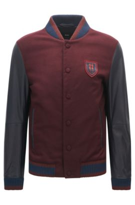 Regular-fit bomber jacket with leather sleeves, Dark Red