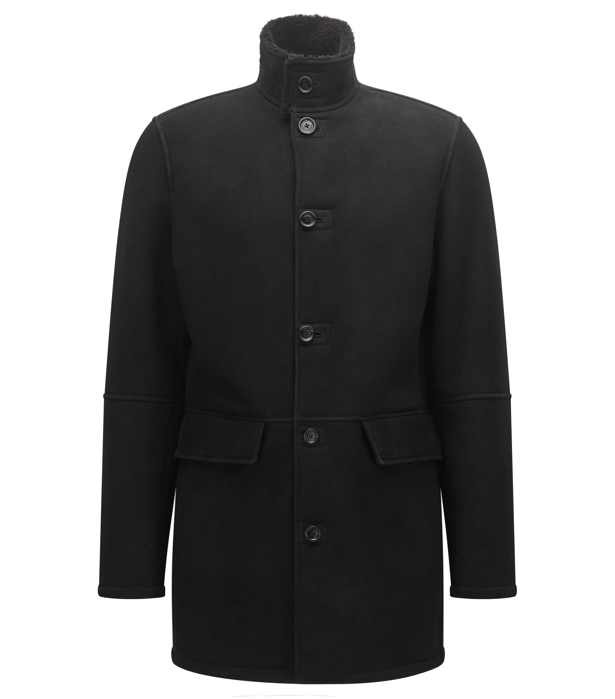 Regular-Fit Mantel aus schwerem Veloursleder , Schwarz