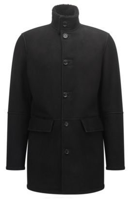 Regular-fit heavyweight suede leather coat , Black