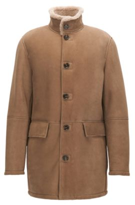 Regular-Fit Mantel aus schwerem Veloursleder , Hellbraun