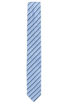 Gestreifte Krawatte aus Seiden-Jacquard, Hellblau