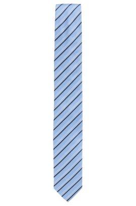 Krawatte aus Seiden-Jacquard mit Streifen-Muster, Hellblau
