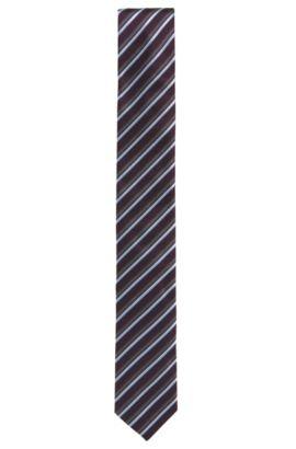 Cravatta in seta jacquard a righe, Rosso scuro