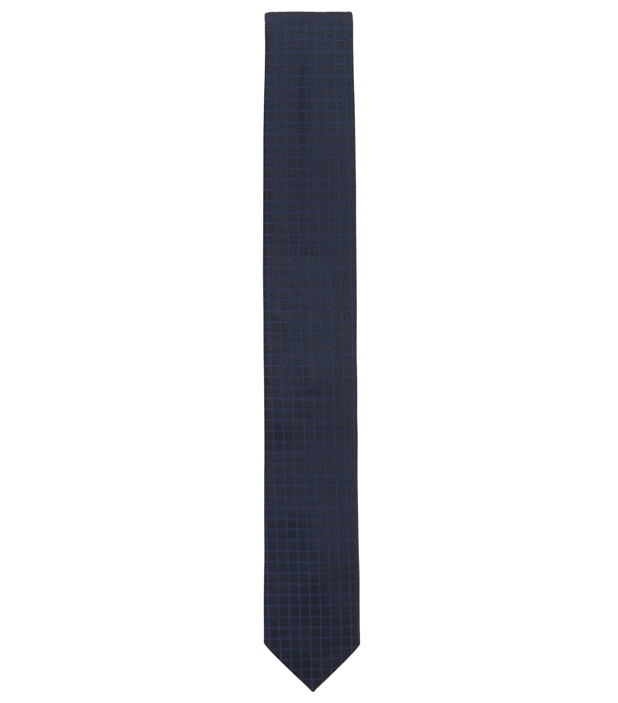 Krawatte aus Seiden-Jacquard mit Karo-Struktur, Dunkelblau