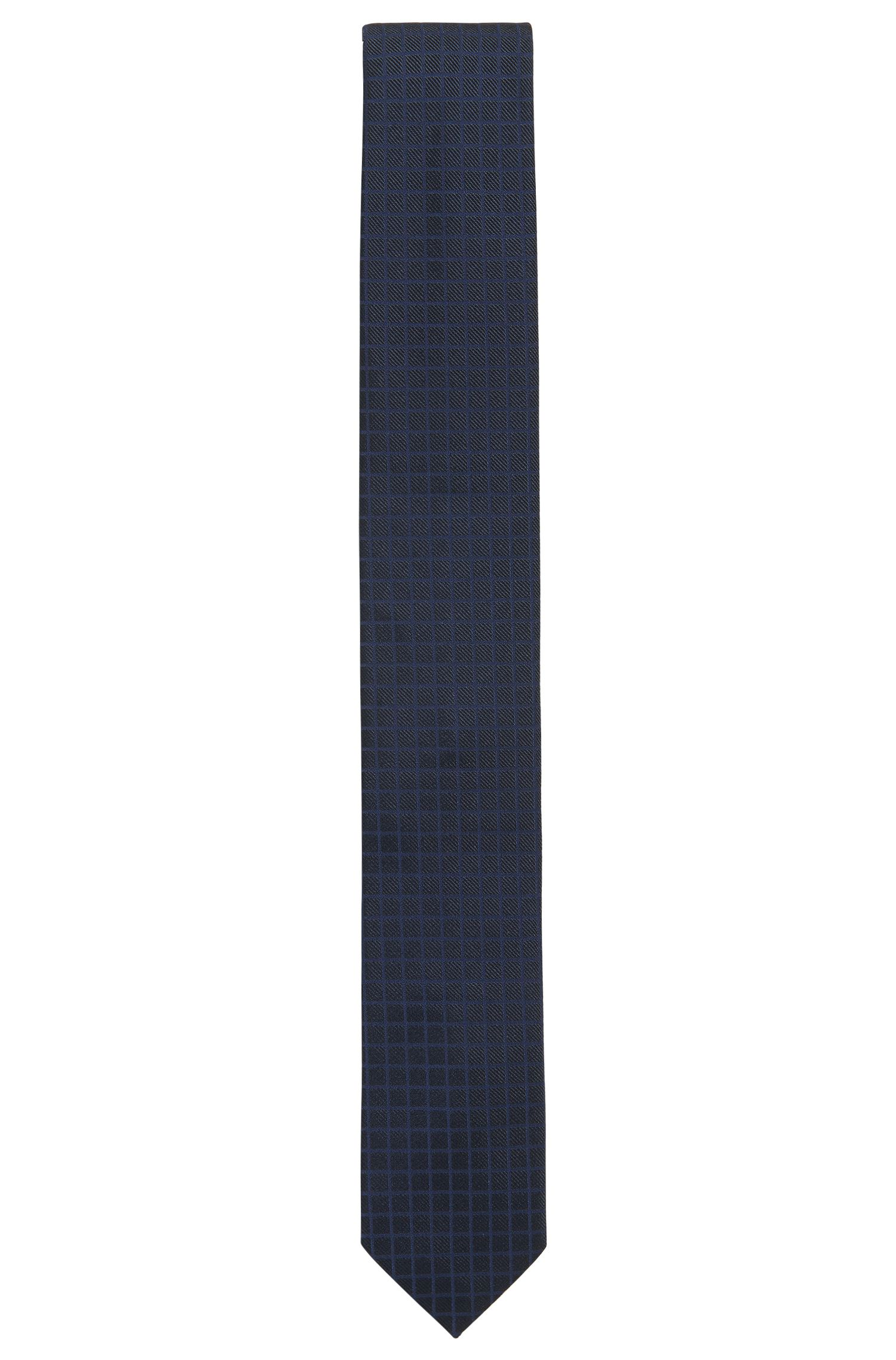 Checked-texture tie in silk jacquard