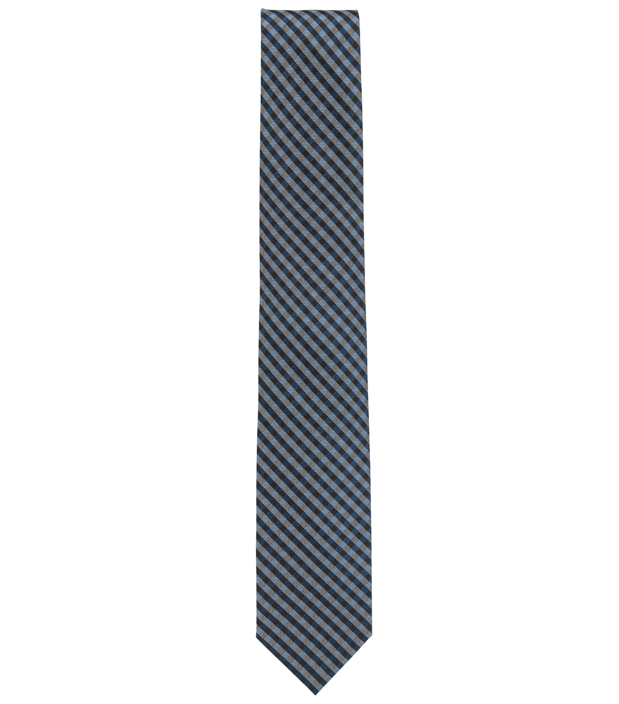 Vichy-check tie in silk jacquard, Dark Blue