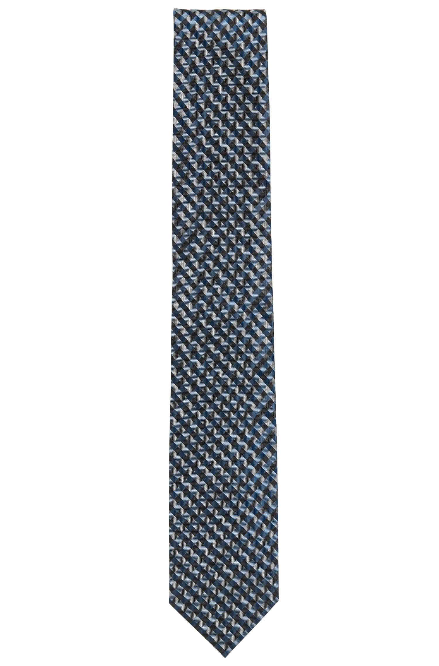 Vichy-check tie in silk jacquard
