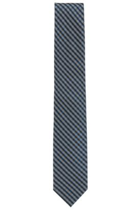 Vichy-check tie in silk jacquard, Dark Blue