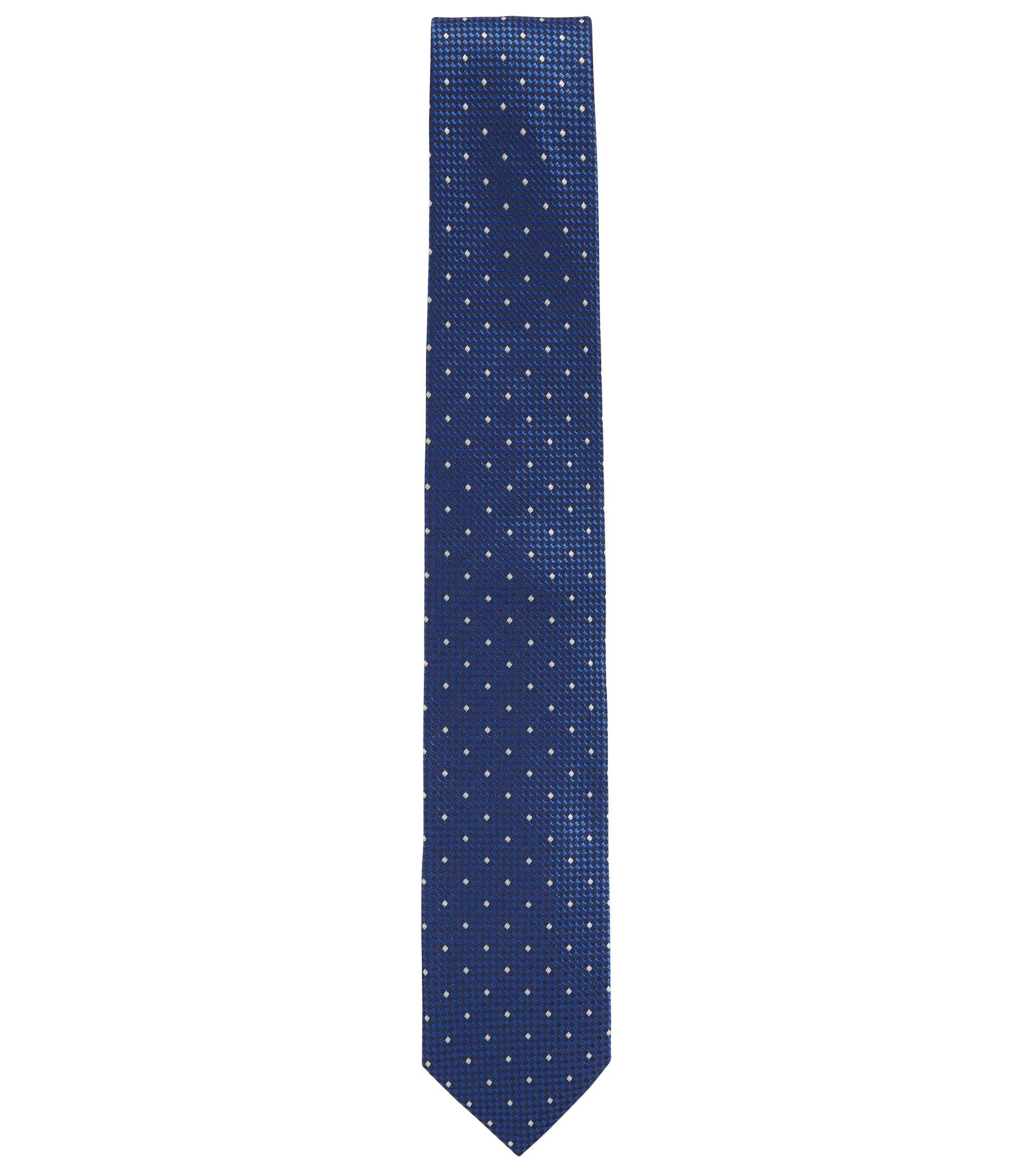 Cravatta jacquard in seta con microdisegni a contrasto, Blu scuro