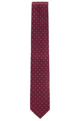 Contrast micro-pattern tie in silk jacquard, Red