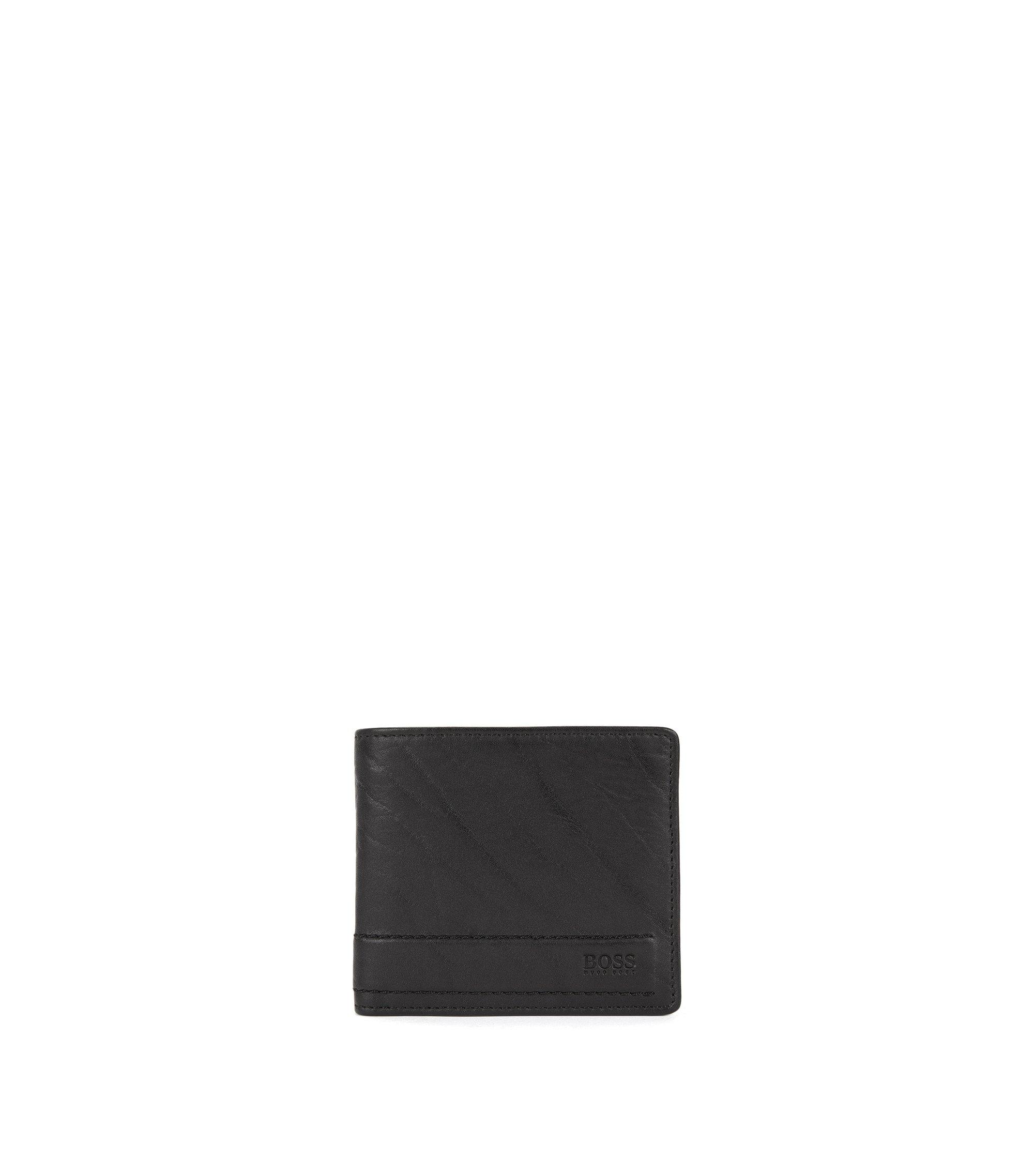 Portefeuille pliable en cuir noble, Noir