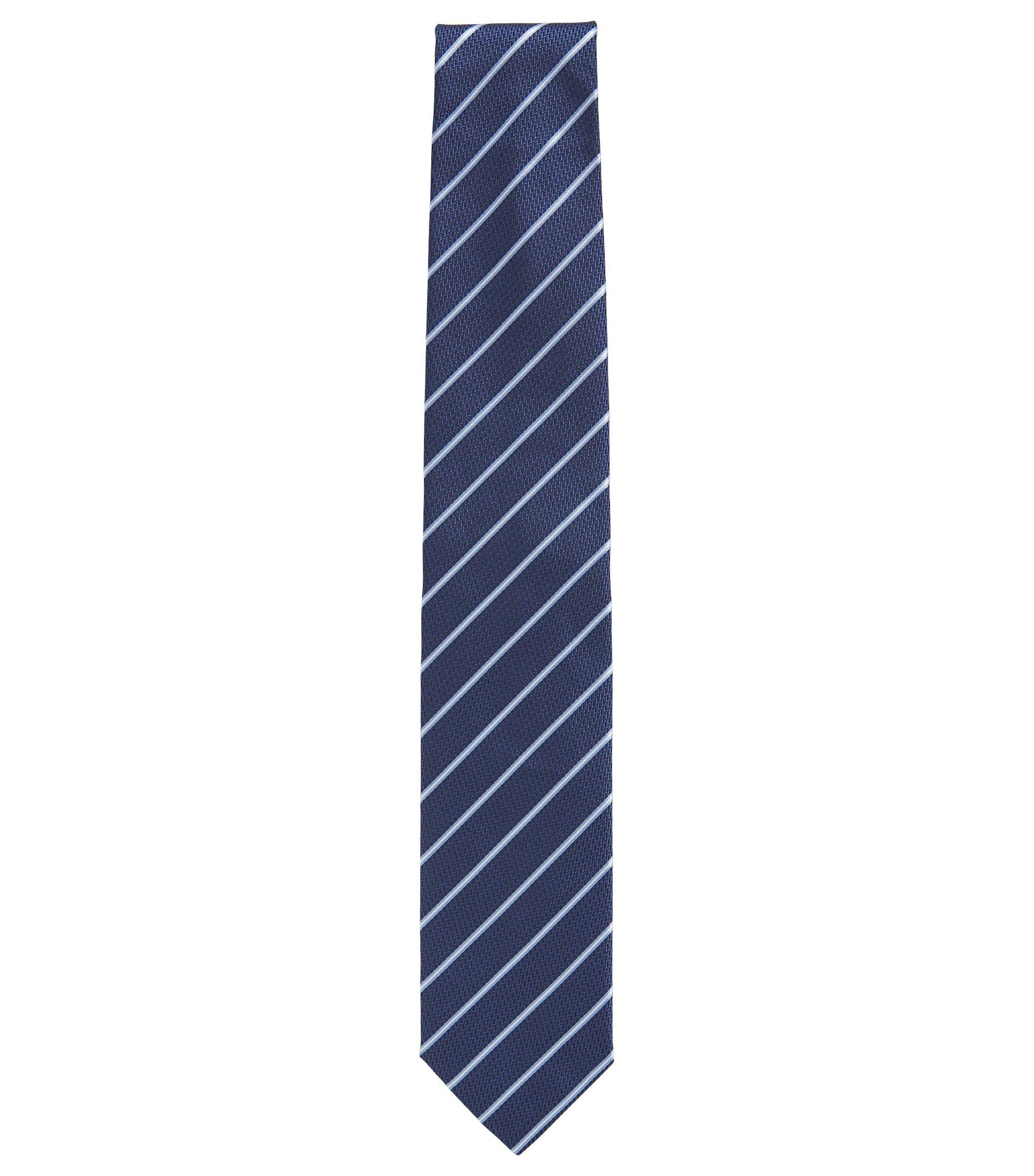 Gestreifte Krawatte aus Seiden-Jacquard, Dunkelblau