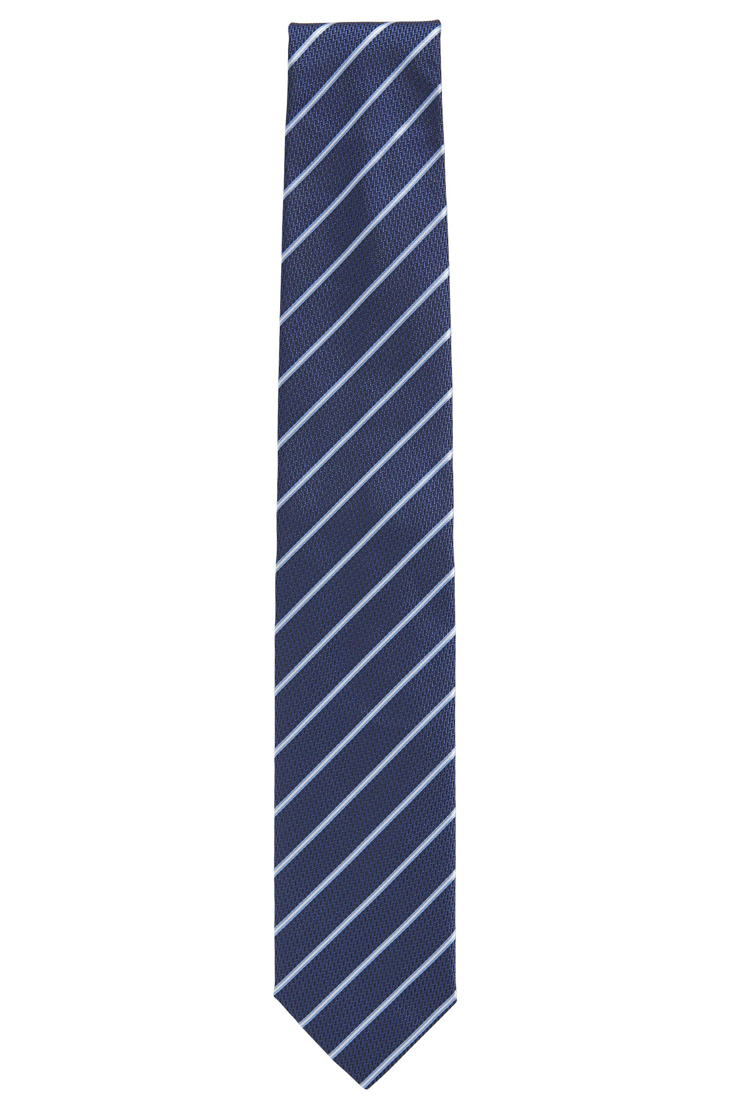 Striped tie in silk jacquard