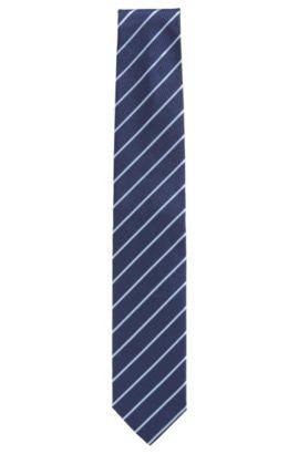 Striped tie in silk jacquard, Dark Blue