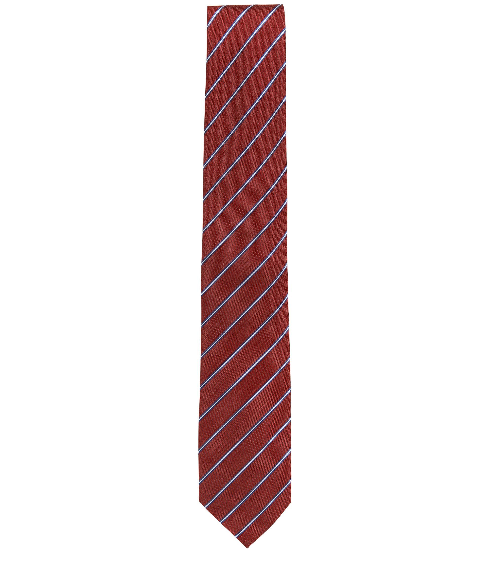Gestreepte stropdas van zijdejacquard, Rood