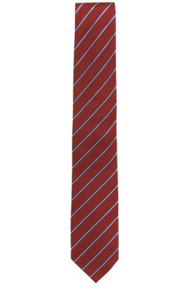 Striped tie in silk jacquard, Red