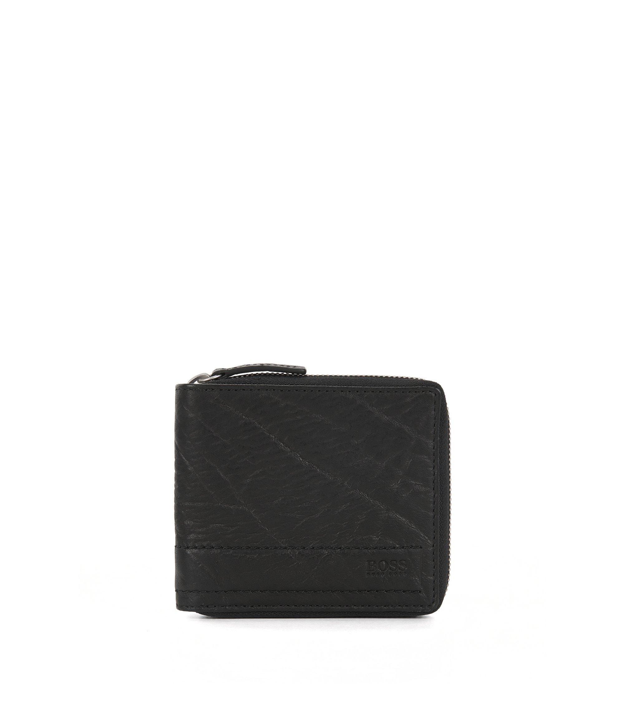 Geldbörse aus genarbtem Leder mit Reißverschluss, Schwarz