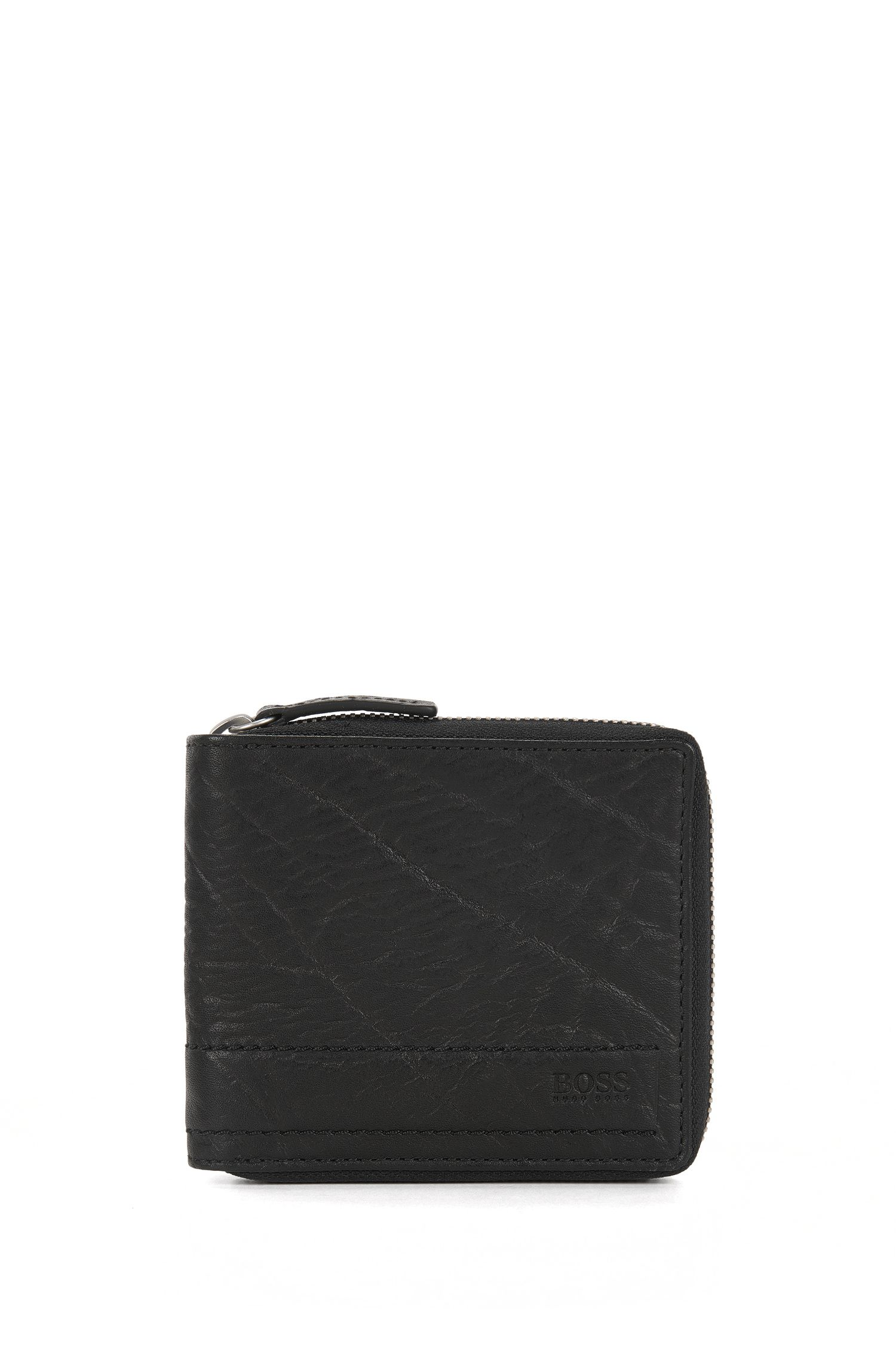 Zip-around wallet in grained leather