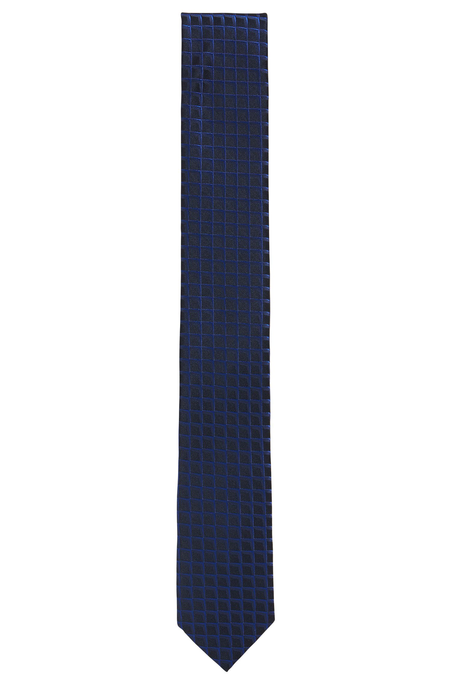 Graph-check jacquard tie in pure silk