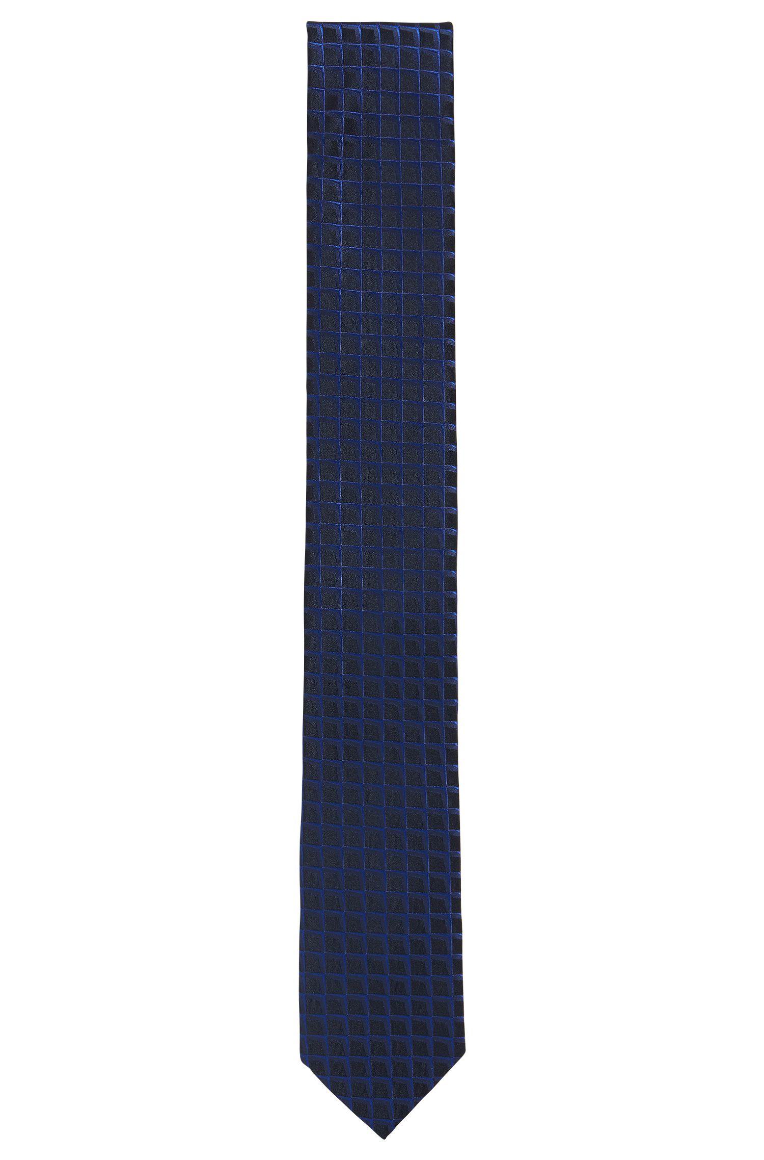 Graph-check jacquard tie in pure silk