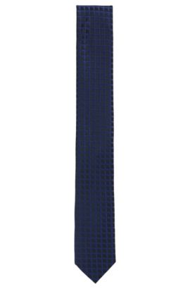 Graph-check jacquard tie in pure silk, Donkerblauw