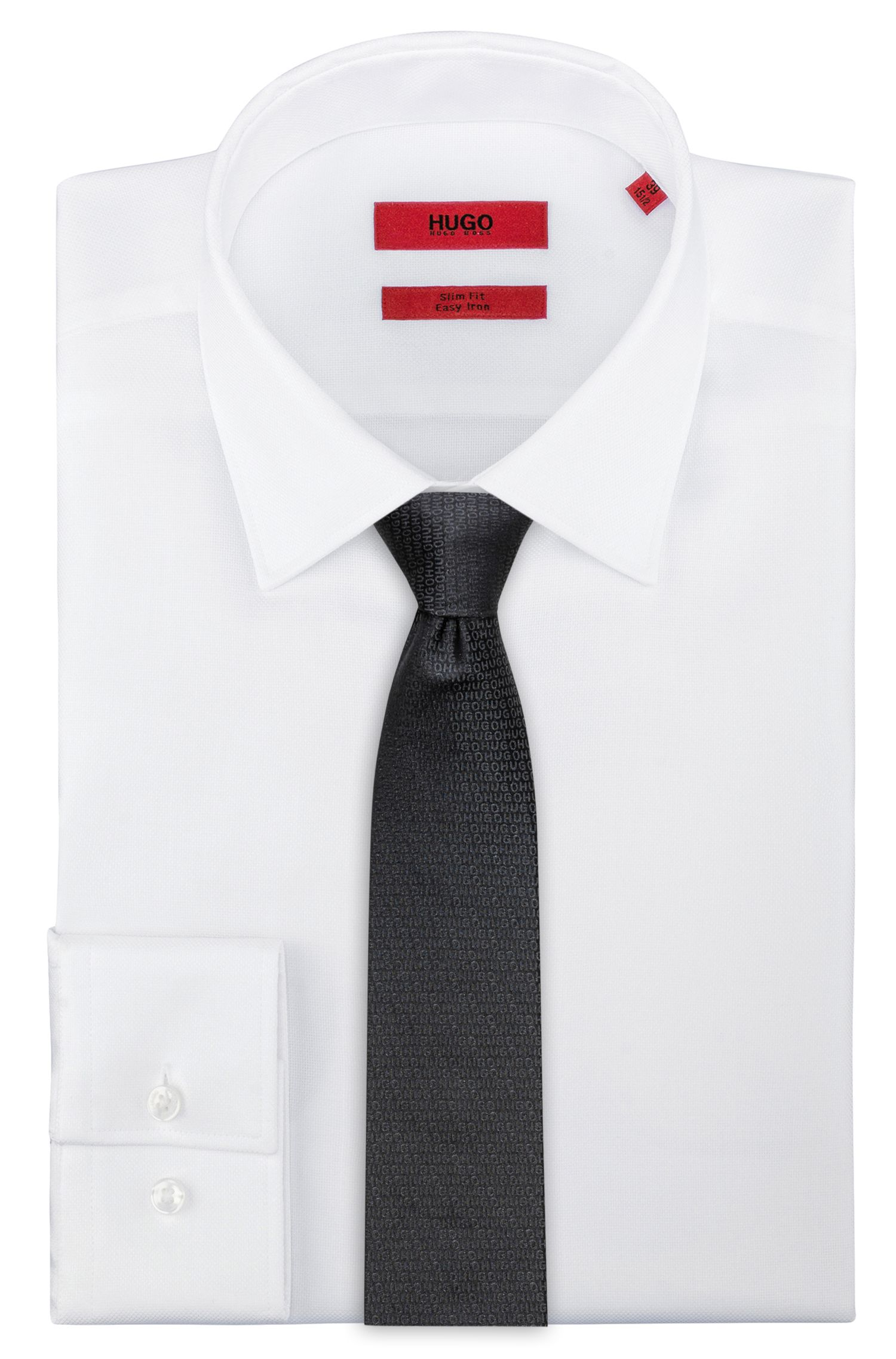 Stropdas in een jacquard van zijde met logo