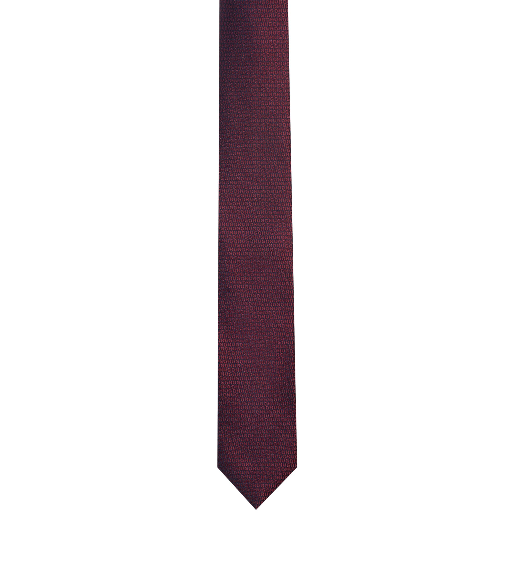 Logo tie in silk jacquard, Red